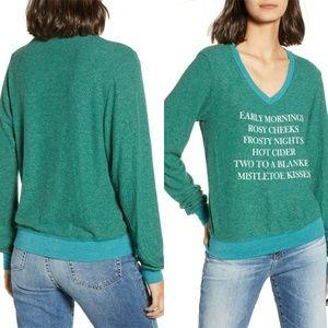 Wildfox Mistletoe Kisses V-neck Jumper Sweater